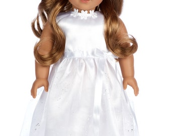 My First Communion - Doll Clothes for 18 inch American Girl Doll - White satin communion dress with matching headband and white shoes