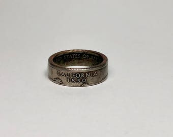 California - Coin Ring - Coin Jewelry - Quarter Ring - Gift - State Wedding Ring - Husband - Wife - State Quarter Ring - Anniversary Gift