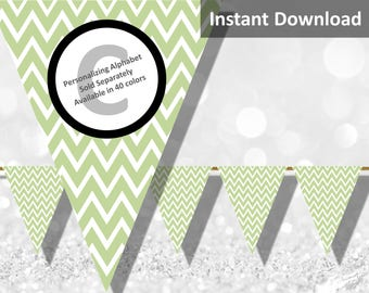 Baby Green Chevron Bunting Pennant Banner Instant Download, Party Decorations