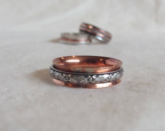 Copper Spinner Ring with Silver Patterned Spinner Fidget Ring Worry Ring Anxiety Ring