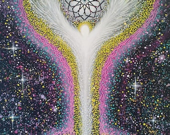 Ascension- Angel Energyscape- ORIGINAL PAINTING - Size 24 x 30 Inches By Visionary Artist and Angel Intuitive Hayley Mawson Roberts
