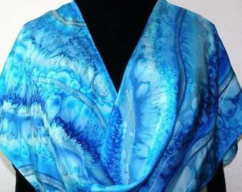 Blue Turquoise Silk Scarf Hand Painted RIVER RUNS, by Silk Scarves Colorado. 100% silk. In Several SIZES, Something Blue - Wedding Scarf