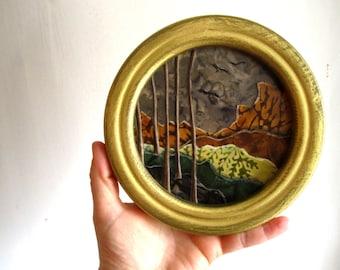 SALE, Woodland Edge, vintage circle gold framed, mountains forest, Original Fabric on Wood art