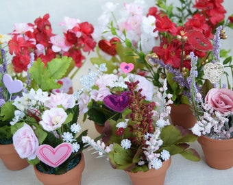 Valentine Miniature Flower Pots With Miniature Artificial Flowers