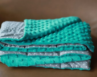 Grey/White Dots Weighted Therapy Blanket- all sizes and weight available