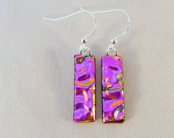 Pink Dichroic Fused Glass Dangle Earrings, Fused Glass, Fused Glass Earrings, Glass Earrings, Dichroic Earrings, Dangle Earrings, Pink