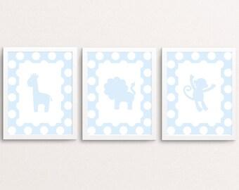Nursery animal print set, nursery art, animal prints, baby boy nursery, baby animal prints, woodland animals, set of 3, safari nursery art