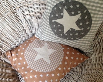 Pillow case 35 x 35 cm in grey and Brown star