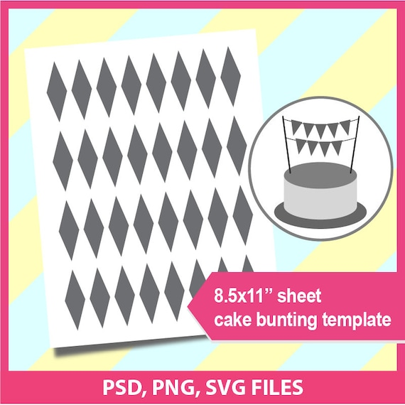 Instant Download Cake Bunting Banner Template Microsoft Word