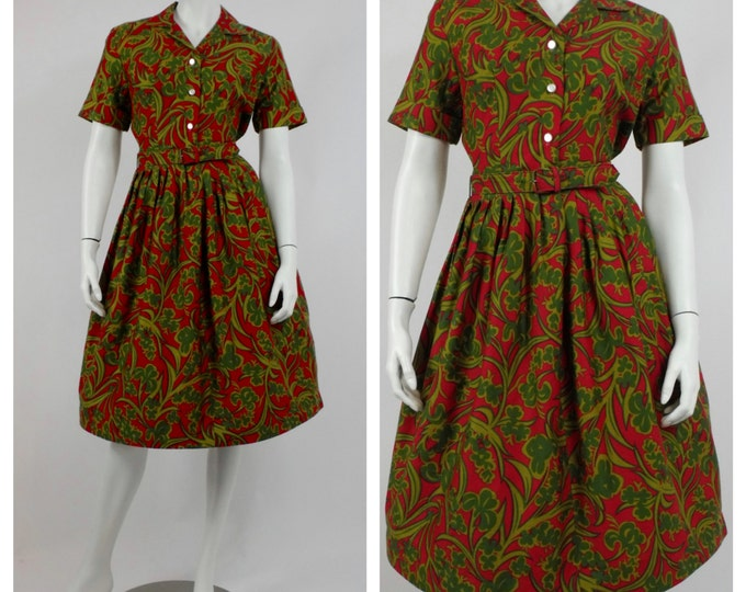 1950's Christmas Red and Green Day Dress - Vintage Rockabilly Dress - New Look Cotton Dress -  Retro Mad Men Dress -  Size 4 to 6