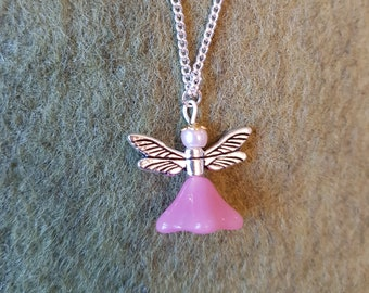 Milky pink flower fairy necklace