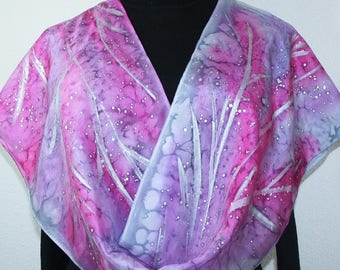 Pink Silk Scarf. Lavender Hand Painted Scarf. Silver Grey Handmade Silk Shawl FROSTY DAWN. Birthday Gift. Gift-Wrapped. Offered in Two SIZES