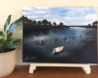 "Waterscape ""The Lake"" with swan and sea birds 