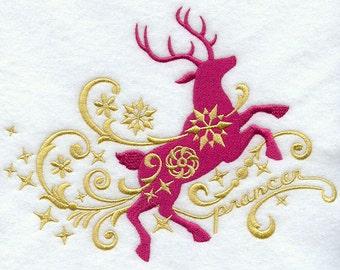 PRANCER IN FILIGREE- Machine Embroidered Quilt Block (AzEB)