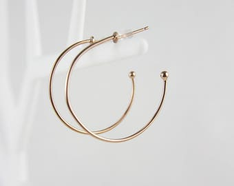 Rose gold round gold plated hoops earrings C41
