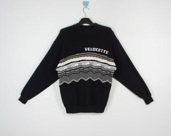 Velocette Sweatshirt VINTAGE Velocette Black Embroidered Spell Out Sweatshirt Men's Size L