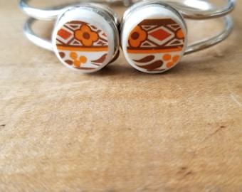 Vintage retro broken plate jewelry bracelet orange brown