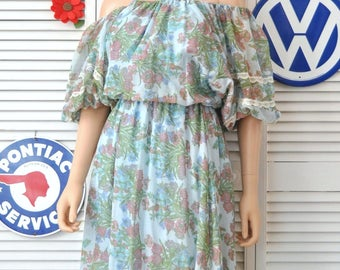 Vintage 70s Women's Dress Blue Floral Print Sheer Poofy Sleeve size Medium Elastic collar-waist-sleeves Ruffles Lace Off Shoulder Lined
