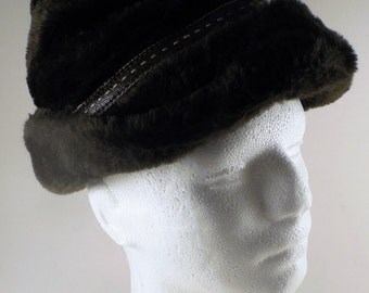 Vintage Men's Brown Faux Fur Hat
