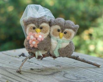 CUSTOM Needle Felted Owl Cake Topper