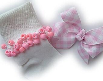 Kathy's Beaded Socks - Light Pink Gingham Socks and Hairbow, girls white socks, school socks, gingham socks, pink socks