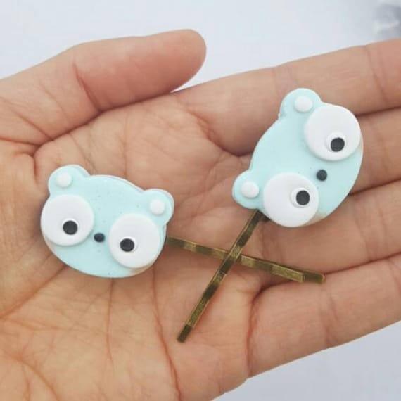 Kawaii Panda Bear Hair Clip Set,  Accessory, Polymer Clay Charm, Polymer Clay, Sweet Lolita, Fairy Kei, Kawaii, Chibi, Clay Charm