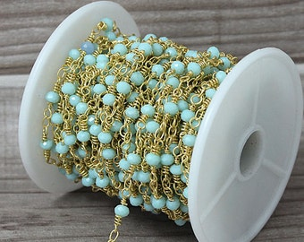 Wholesale Aqua Blue Chalcedony Rosary Beaded Chain Gold Plated Wire Wrapped chain By foot