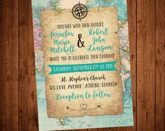 Travel themed Printable Wedding Invitation