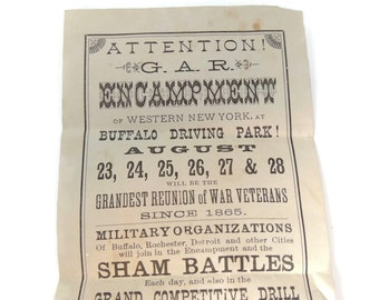 1897 GAR Encampment Flyer Buffalo NY Civil War Grand Army of the Republic