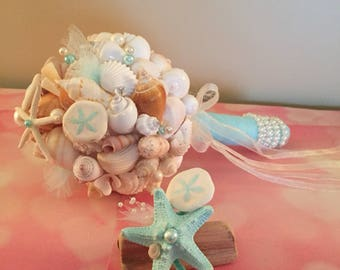 Xo bouquet seashell bouquet boutonniere special listing