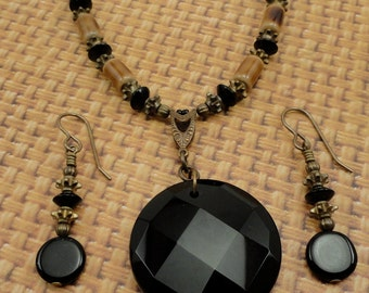 Black Onyx, Agate, Porcelain and Vintaj Natural Brass Necklace and Earrings