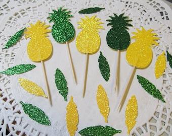 Pineapple Cupcake Toppers - Green & Yellow Glitter - Feather Confetti - Luau - Summer Beach Decor - Pineapple Party Decor, Hawaiian Feathers