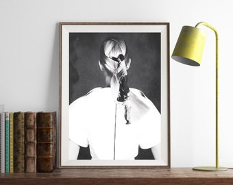 """Black and white art print, paper collage art, surreal collage, home decor wall art, original paper collage, portrait art - """"Got your back""""."""