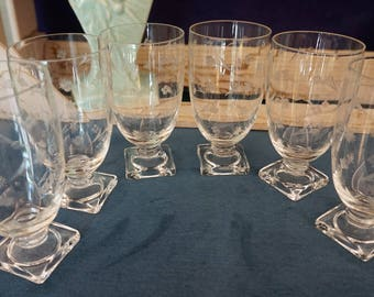 Set of 6 Etched Cordial Glasses