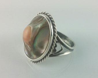 Abalone Shell Ring in Sterling Silver, Vintage, Marked, Size 5.5