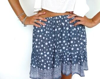 Frill Sunflower Skirt - Short Skirt with Drop Hem in Navy Polka Dot, Floral Lorikeet or Waterlily Print