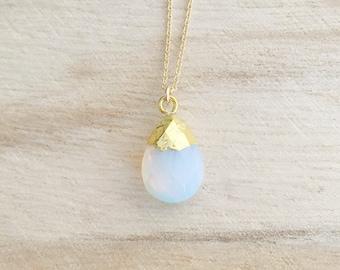 Opal gemstone drop necklace, opal necklace, gemstone necklace, opal jewelry, layering necklace, dainty gold necklace