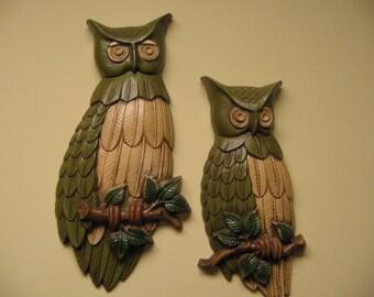 Vintage Owls Cast Metal Sexton 1969 Wall Plaques