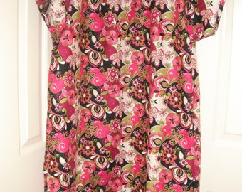 Bold pink and red floral cotton hospital gown