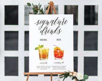 Signature Drink Sign - Wedding Drink Sign - Printable Wedding Sign - Customized Drink Sign - Customized Signature Drink Sign - Drink Menu
