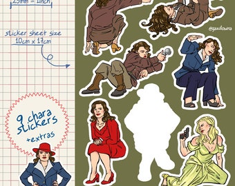 agent peggy carter  captain america vinyl kiss cut stickers sheet great for decorating planners