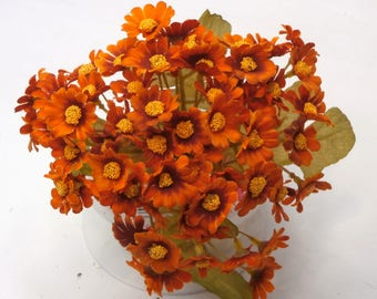 Artificial Burnt Orange Cineraria Floral Bouquet, Artificial Floral Bouquet, Artificial Flowers, Artificial Flower Bunch