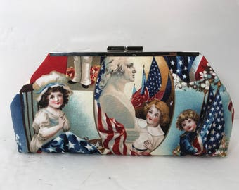 Betsy Ross and Uncle Sam 4th of July Clutch Purse with Nickel/Silver Finish Snap Close Frame