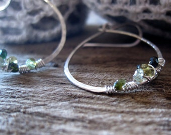 Drop Hoop Earrings Sterling Silver with Tourmaline Cluster. Gift for her.Medium Size.