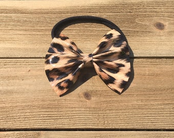 Leopard Headband- Leopard Bow; Leather Bow; Baby Bow; Leather Headband; Faux Leather; Cow Skull Baby Bow; Nylon Headband; Baby Headband