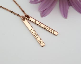 Roman Numeral Necklace, Custom Bar Necklace, Date Necklace, Birthday Gift, Gold Bar Necklace, Wedding date, Anniversary date, VIcJewelry