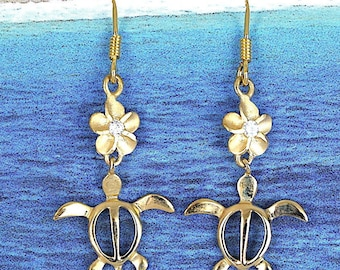 Turtle Plumeria Earring, Sterling Silver Yellow Gold Plated Sea Turtle Plumeria CZ Dangle Earring, E4414  Birthday Anniversary Mom Wife Gift
