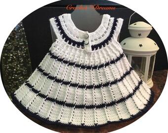 Baby girl dress Crochet dress Baby shower gift Newborn baby dress  White baby dress Baby girl outfit Birthday baby dress  Christening dress
