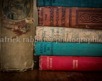 Old Vintage Books Photo Fine Art Photography Old Books Romantic Bookstore Finds Bookworm Teachers Gift Book Lover Gift For Him For Her