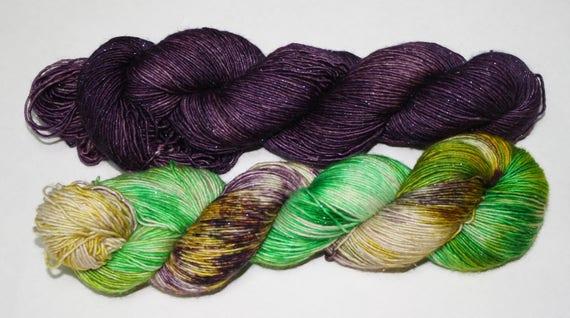 Dyed to Order - King Cake and Purple Haze Hand Dyed Yarn Shawl Set